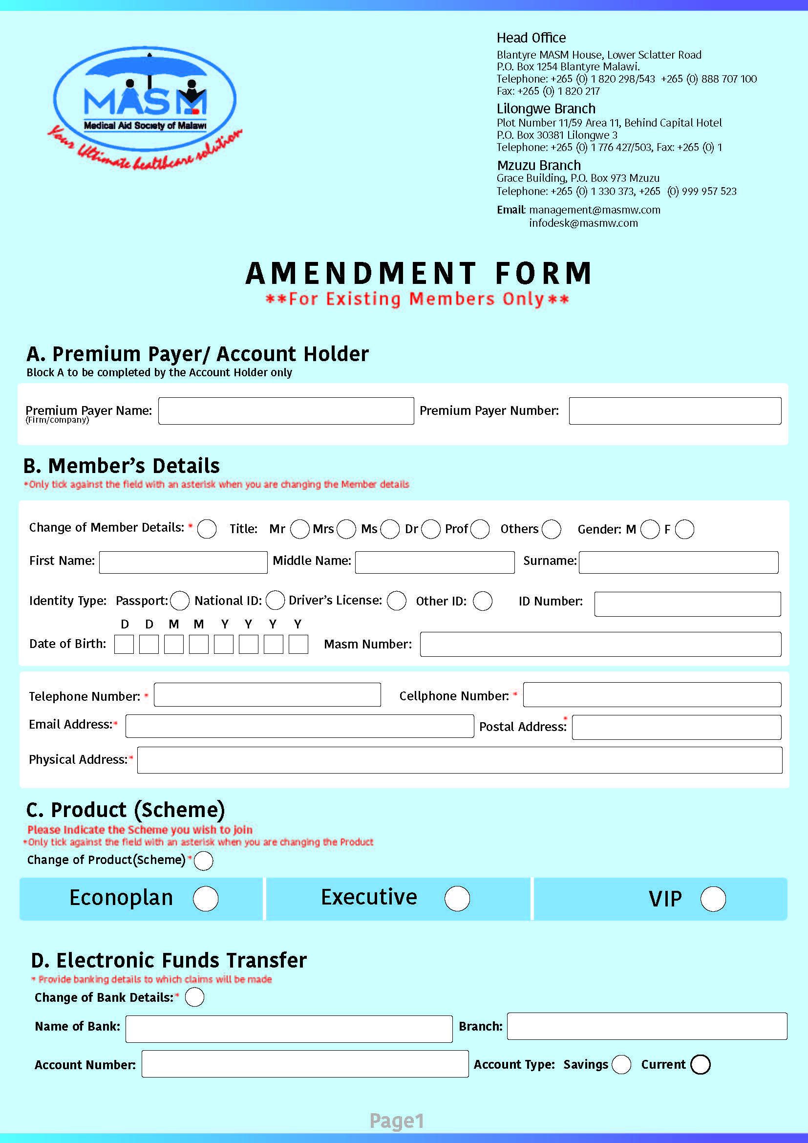 Amendment Form for Existing Customers