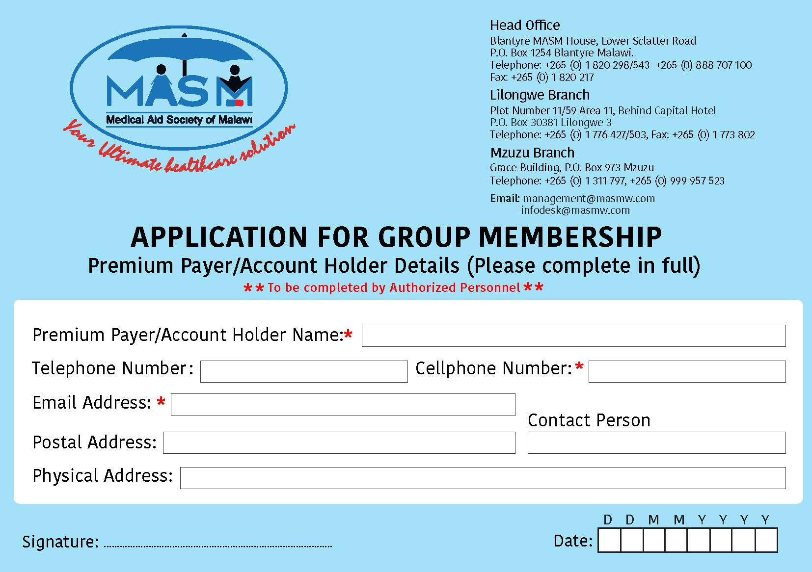 Application for Group Membership